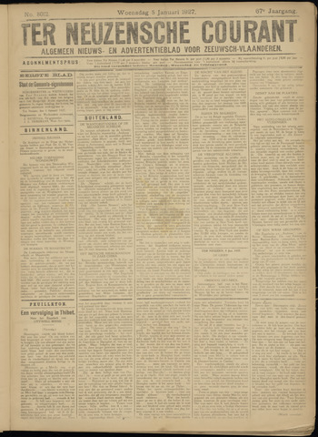 Ter Neuzensche Courant. Algemeen Nieuws- en Advertentieblad voor Zeeuwsch-Vlaanderen / Neuzensche Courant ... (idem) / (Algemeen) nieuws en advertentieblad voor Zeeuwsch-Vlaanderen 1927-01-05