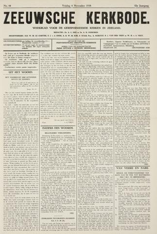 Zeeuwsche kerkbode, weekblad gewijd aan de belangen der gereformeerde kerken/ Zeeuwsch kerkblad 1938-11-04