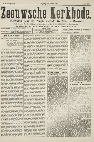 Zeeuwsche kerkbode, weekblad gewijd aan de belangen der gereformeerde kerken/ Zeeuwsch kerkblad 1917-06-29