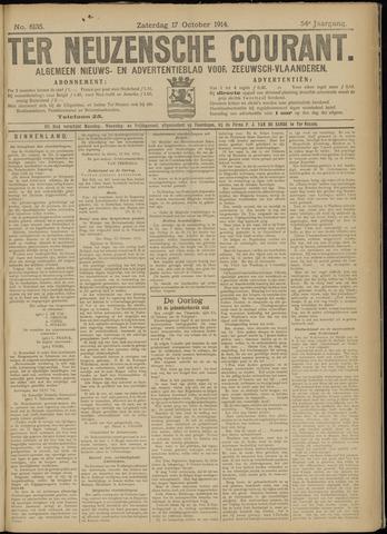 Ter Neuzensche Courant. Algemeen Nieuws- en Advertentieblad voor Zeeuwsch-Vlaanderen / Neuzensche Courant ... (idem) / (Algemeen) nieuws en advertentieblad voor Zeeuwsch-Vlaanderen 1914-10-17