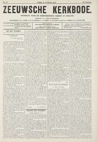 Zeeuwsche kerkbode, weekblad gewijd aan de belangen der gereformeerde kerken/ Zeeuwsch kerkblad 1934-11-16