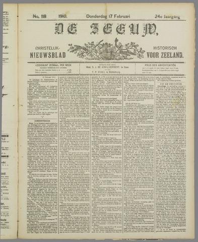 De Zeeuw. Christelijk-historisch nieuwsblad voor Zeeland 1910-02-17