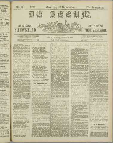 De Zeeuw. Christelijk-historisch nieuwsblad voor Zeeland 1912-11-11