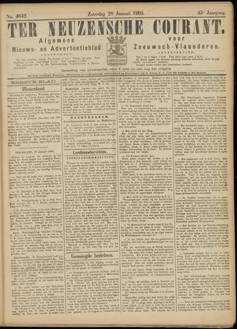 Ter Neuzensche Courant. Algemeen Nieuws- en Advertentieblad voor Zeeuwsch-Vlaanderen / Neuzensche Courant ... (idem) / (Algemeen) nieuws en advertentieblad voor Zeeuwsch-Vlaanderen 1905-01-28