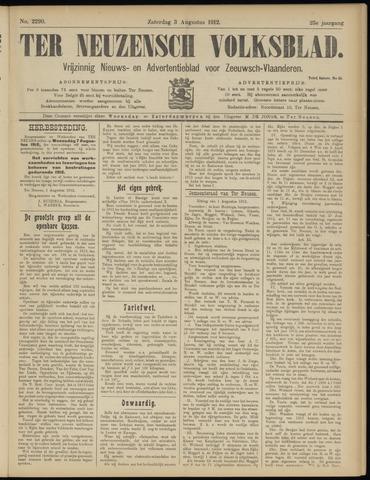 Ter Neuzensch Volksblad. Vrijzinnig nieuws- en advertentieblad voor Zeeuwsch- Vlaanderen / Zeeuwsch Nieuwsblad. Nieuws- en advertentieblad voor Zeeland 1912-08-03