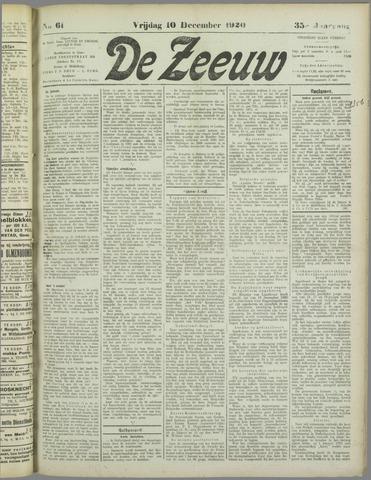 De Zeeuw. Christelijk-historisch nieuwsblad voor Zeeland 1920-12-10