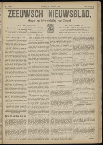 Ter Neuzensch Volksblad. Vrijzinnig nieuws- en advertentieblad voor Zeeuwsch- Vlaanderen / Zeeuwsch Nieuwsblad. Nieuws- en advertentieblad voor Zeeland 1918-10-05