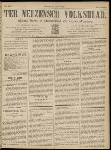 Ter Neuzensch Volksblad. Vrijzinnig nieuws- en advertentieblad voor Zeeuwsch- Vlaanderen / Zeeuwsch Nieuwsblad. Nieuws- en advertentieblad voor Zeeland 1911-03-18
