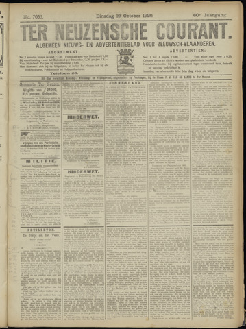 Ter Neuzensche Courant. Algemeen Nieuws- en Advertentieblad voor Zeeuwsch-Vlaanderen / Neuzensche Courant ... (idem) / (Algemeen) nieuws en advertentieblad voor Zeeuwsch-Vlaanderen 1920-10-12