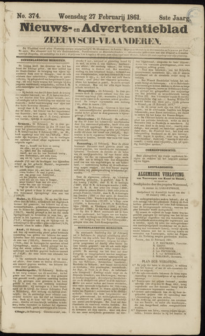 Ter Neuzensche Courant. Algemeen Nieuws- en Advertentieblad voor Zeeuwsch-Vlaanderen / Neuzensche Courant ... (idem) / (Algemeen) nieuws en advertentieblad voor Zeeuwsch-Vlaanderen 1861-02-27