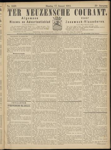 Ter Neuzensche Courant. Algemeen Nieuws- en Advertentieblad voor Zeeuwsch-Vlaanderen / Neuzensche Courant ... (idem) / (Algemeen) nieuws en advertentieblad voor Zeeuwsch-Vlaanderen 1911-01-17