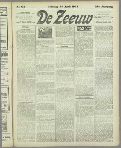 De Zeeuw. Christelijk-historisch nieuwsblad voor Zeeland 1924-04-22