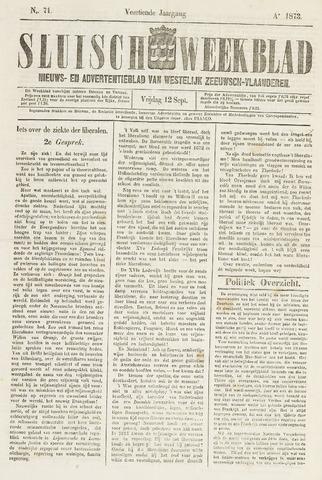 Sluisch Weekblad. Nieuws- en advertentieblad voor Westelijk Zeeuwsch-Vlaanderen 1873-09-12