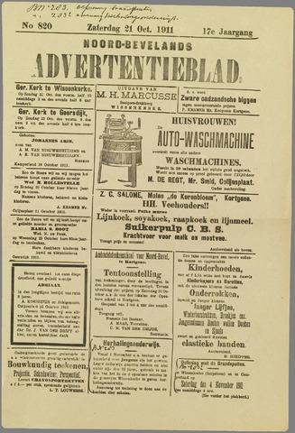 Noord-Bevelands Nieuws- en advertentieblad 1911-10-21