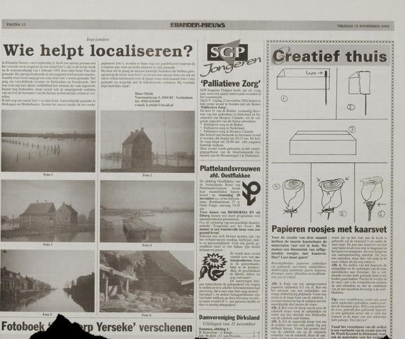 Watersnood documentatie 1953 - kranten 2002-11-15