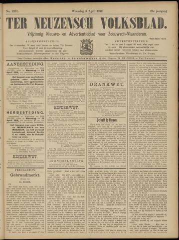 Ter Neuzensch Volksblad. Vrijzinnig nieuws- en advertentieblad voor Zeeuwsch- Vlaanderen / Zeeuwsch Nieuwsblad. Nieuws- en advertentieblad voor Zeeland 1912-04-03