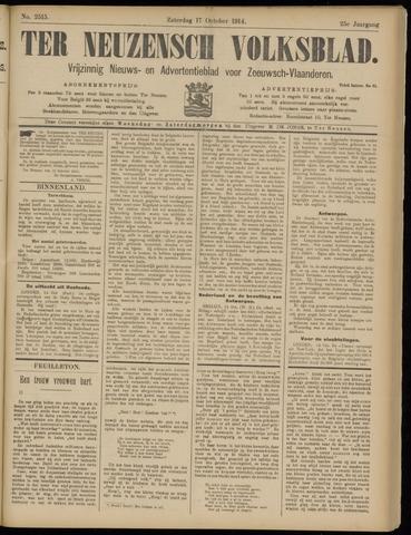Ter Neuzensch Volksblad. Vrijzinnig nieuws- en advertentieblad voor Zeeuwsch- Vlaanderen / Zeeuwsch Nieuwsblad. Nieuws- en advertentieblad voor Zeeland 1914-10-17
