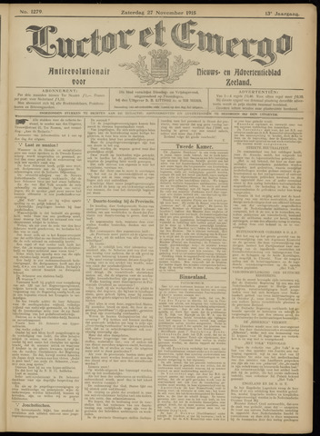Luctor et Emergo. Antirevolutionair nieuws- en advertentieblad voor Zeeland / Zeeuwsch-Vlaanderen. Orgaan ter verspreiding van de christelijke beginselen in Zeeuwsch-Vlaanderen 1915-11-27