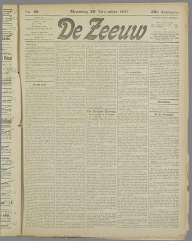 De Zeeuw. Christelijk-historisch nieuwsblad voor Zeeland 1917-11-26