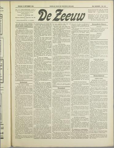 De Zeeuw. Christelijk-historisch nieuwsblad voor Zeeland 1934-09-21