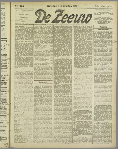 De Zeeuw. Christelijk-historisch nieuwsblad voor Zeeland 1920-08-03