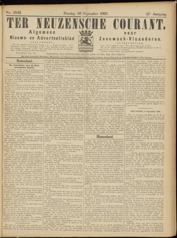 Ter Neuzensche Courant. Algemeen Nieuws- en Advertentieblad voor Zeeuwsch-Vlaanderen / Neuzensche Courant ... (idem) / (Algemeen) nieuws en advertentieblad voor Zeeuwsch-Vlaanderen 1907-09-10