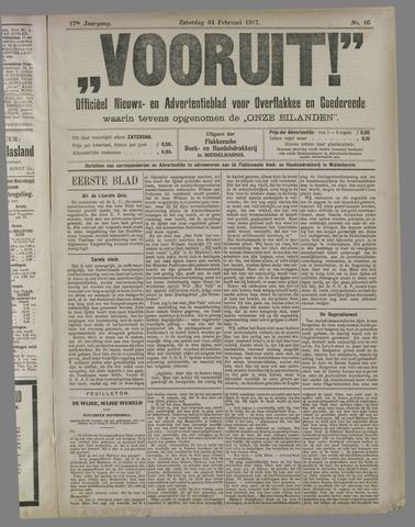 """""""Vooruit!""""Officieel Nieuws- en Advertentieblad voor Overflakkee en Goedereede 1917-02-24"""