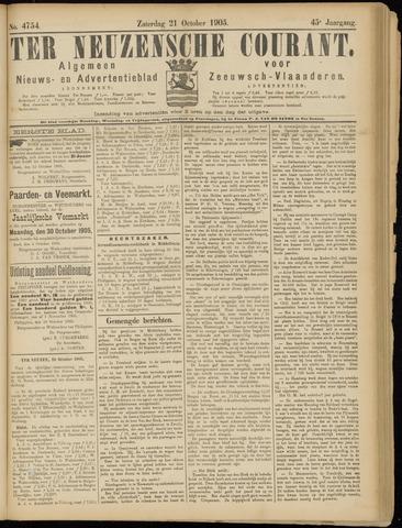 Ter Neuzensche Courant. Algemeen Nieuws- en Advertentieblad voor Zeeuwsch-Vlaanderen / Neuzensche Courant ... (idem) / (Algemeen) nieuws en advertentieblad voor Zeeuwsch-Vlaanderen 1905-10-21