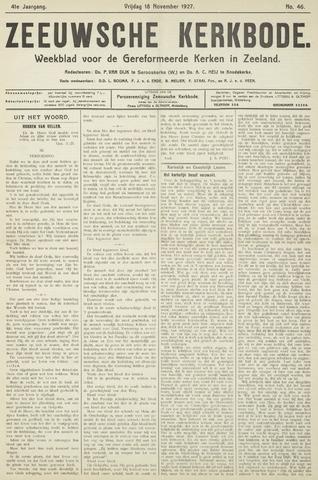 Zeeuwsche kerkbode, weekblad gewijd aan de belangen der gereformeerde kerken/ Zeeuwsch kerkblad 1927-11-18