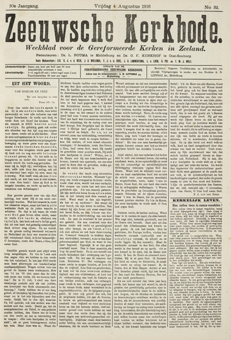 Zeeuwsche kerkbode, weekblad gewijd aan de belangen der gereformeerde kerken/ Zeeuwsch kerkblad 1916-08-04