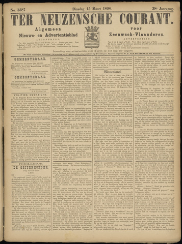 Ter Neuzensche Courant. Algemeen Nieuws- en Advertentieblad voor Zeeuwsch-Vlaanderen / Neuzensche Courant ... (idem) / (Algemeen) nieuws en advertentieblad voor Zeeuwsch-Vlaanderen 1898-03-15
