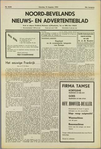 Noord-Bevelands Nieuws- en advertentieblad 1953-08-15