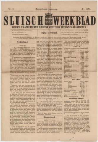 Sluisch Weekblad. Nieuws- en advertentieblad voor Westelijk Zeeuwsch-Vlaanderen 1876-02-18