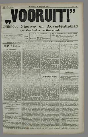 """""""Vooruit!""""Officieel Nieuws- en Advertentieblad voor Overflakkee en Goedereede 1915-08-04"""