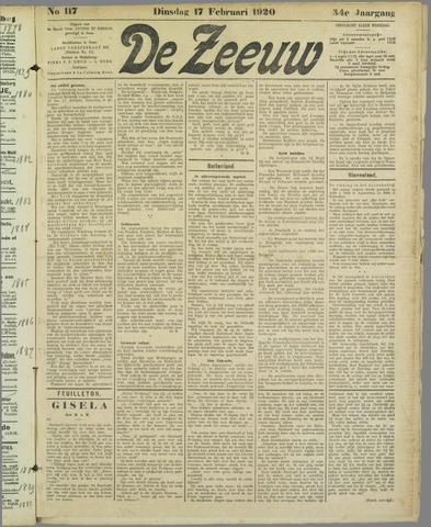 De Zeeuw. Christelijk-historisch nieuwsblad voor Zeeland 1920-02-17