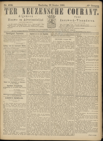 Ter Neuzensche Courant. Algemeen Nieuws- en Advertentieblad voor Zeeuwsch-Vlaanderen / Neuzensche Courant ... (idem) / (Algemeen) nieuws en advertentieblad voor Zeeuwsch-Vlaanderen 1901-10-10