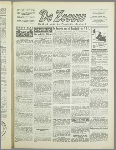 De Zeeuw. Christelijk-historisch nieuwsblad voor Zeeland 1937-11-19