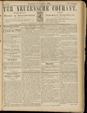 Ter Neuzensche Courant. Algemeen Nieuws- en Advertentieblad voor Zeeuwsch-Vlaanderen / Neuzensche Courant ... (idem) / (Algemeen) nieuws en advertentieblad voor Zeeuwsch-Vlaanderen 1905-09-14