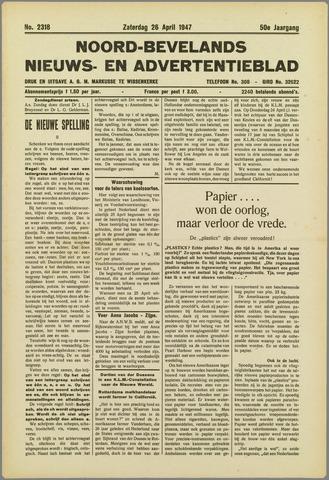 Noord-Bevelands Nieuws- en advertentieblad 1947-04-26