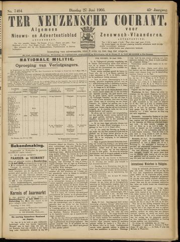 Ter Neuzensche Courant. Algemeen Nieuws- en Advertentieblad voor Zeeuwsch-Vlaanderen / Neuzensche Courant ... (idem) / (Algemeen) nieuws en advertentieblad voor Zeeuwsch-Vlaanderen 1905-06-27