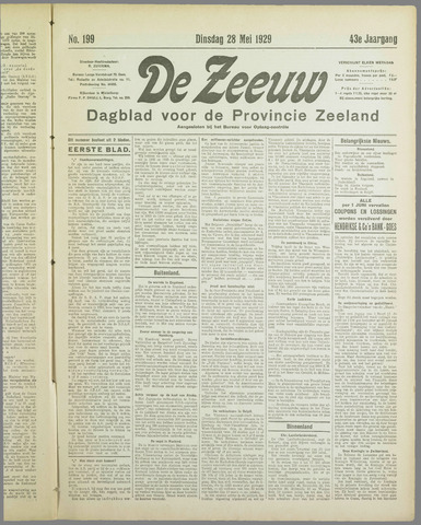 De Zeeuw. Christelijk-historisch nieuwsblad voor Zeeland 1929-05-28