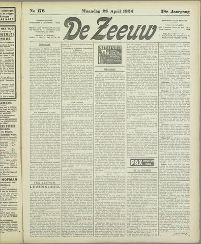 De Zeeuw. Christelijk-historisch nieuwsblad voor Zeeland 1924-04-28