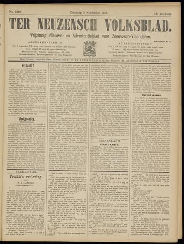 Ter Neuzensch Volksblad. Vrijzinnig nieuws- en advertentieblad voor Zeeuwsch- Vlaanderen / Zeeuwsch Nieuwsblad. Nieuws- en advertentieblad voor Zeeland 1912-11-02