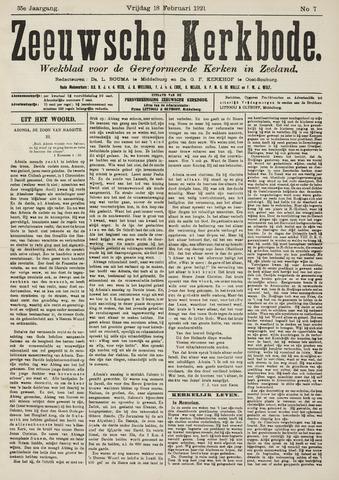 Zeeuwsche kerkbode, weekblad gewijd aan de belangen der gereformeerde kerken/ Zeeuwsch kerkblad 1921-02-18