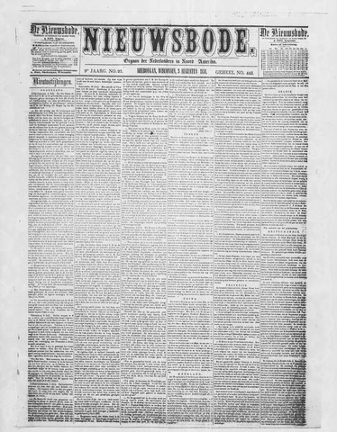 Sheboygan Nieuwsbode 1858-08-03