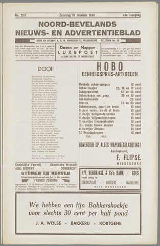 Noord-Bevelands Nieuws- en advertentieblad 1940-02-10