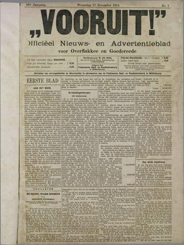 """""""Vooruit!""""Officieel Nieuws- en Advertentieblad voor Overflakkee en Goedereede 1915-11-17"""