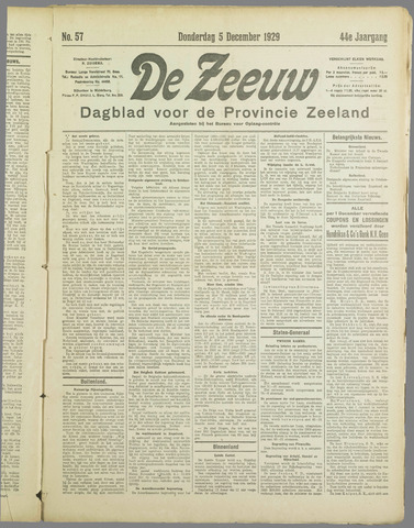 De Zeeuw. Christelijk-historisch nieuwsblad voor Zeeland 1929-12-05