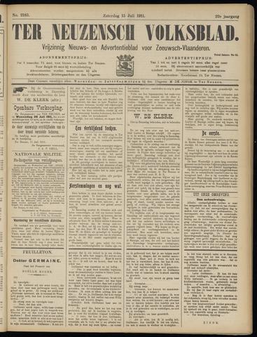 Ter Neuzensch Volksblad. Vrijzinnig nieuws- en advertentieblad voor Zeeuwsch- Vlaanderen / Zeeuwsch Nieuwsblad. Nieuws- en advertentieblad voor Zeeland 1911-07-15
