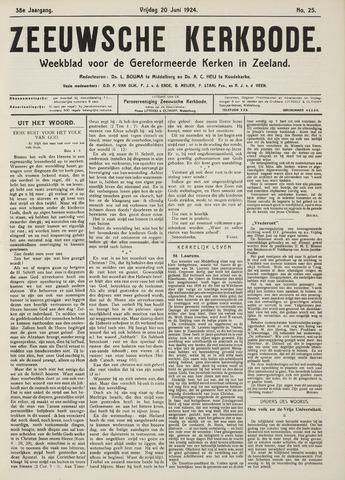Zeeuwsche kerkbode, weekblad gewijd aan de belangen der gereformeerde kerken/ Zeeuwsch kerkblad 1924-06-20